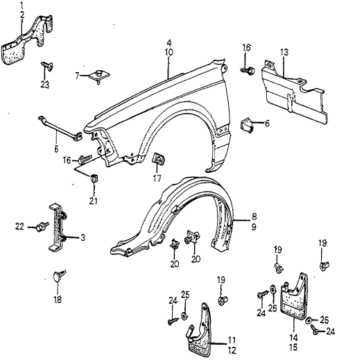 1982 accord DX 4 DOOR HMT FRONT FENDER diagram