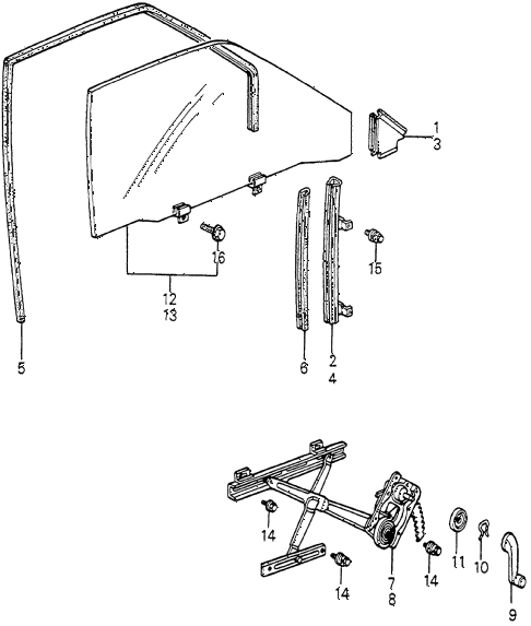 1982 accord DX 3 DOOR HMT DOOR WINDOW 3DR diagram