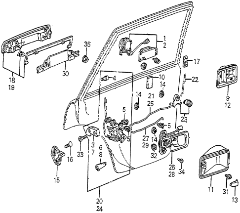 1982 accord DX 4 DOOR 5MT REAR DOOR LOCKS 4DR diagram