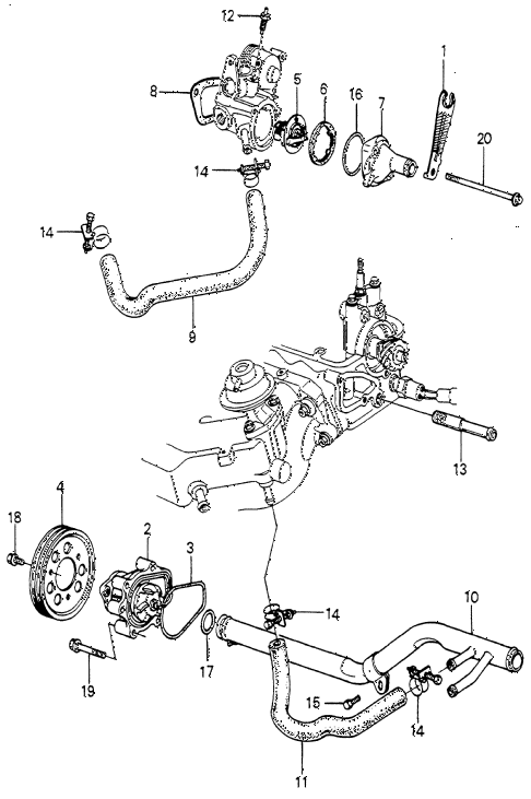 1982 accord DX 4 DOOR 5MT WATER PUMP - THERMOSTAT diagram