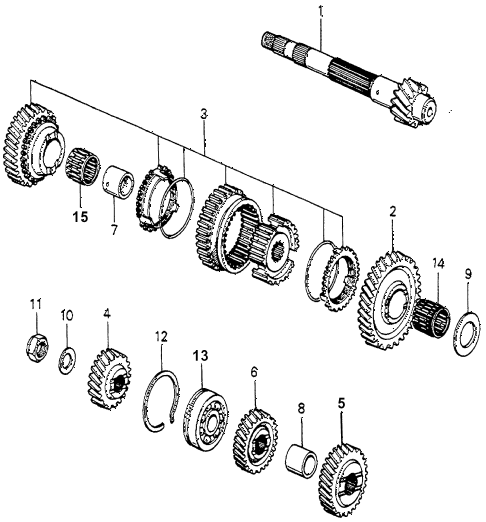 1983 accord LX 3 DOOR 5MT MT COUNTERSHAFT  - COUNTERSHAFTGEARS diagram