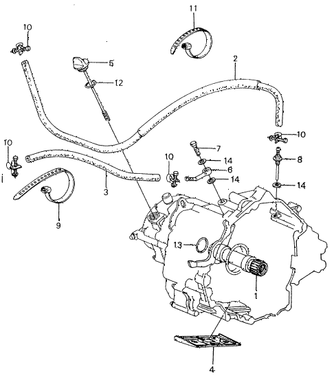 1983 civic **(1500) 4 DOOR HMT AT OIL COOLER HOSE - OIL STRAINER diagram