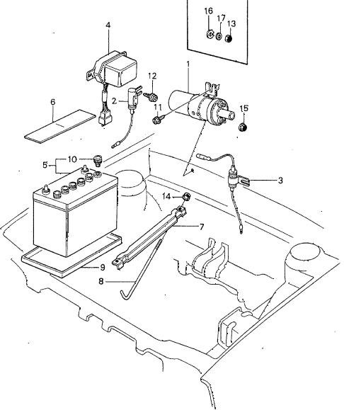 1983 civic **(1500) 4 DOOR 5MT IGNITION COIL - BATTERY diagram