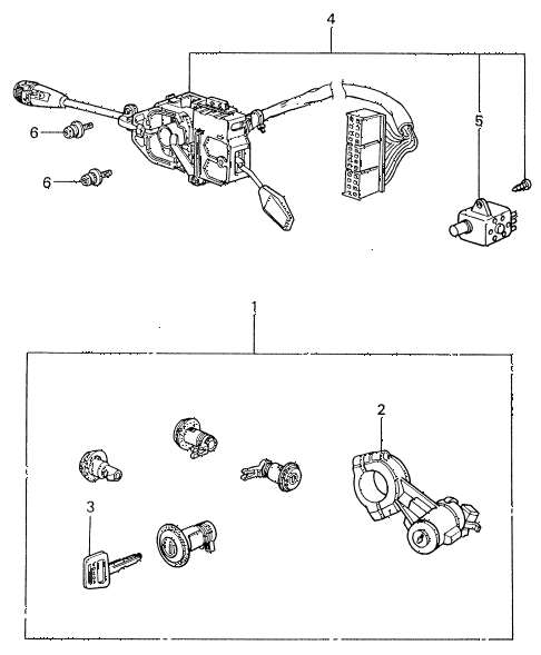 1983 civic **(1500) 4 DOOR 5MT STEERING WHEEL SWITCH - LOCK SET diagram