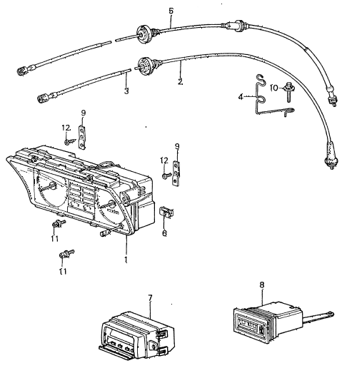 1981 civic **(1500) 4 DOOR 5MT SPEEDOMETER - TACHOMETER diagram