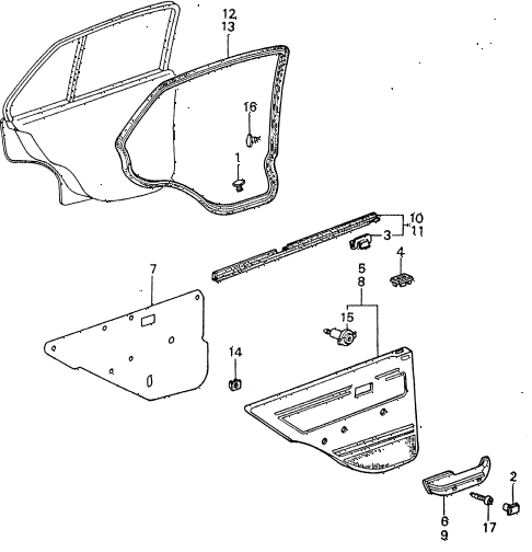 1983 civic **(1500) 4 DOOR HMT REAR DOOR LINING  - WEATHERSTRIP diagram