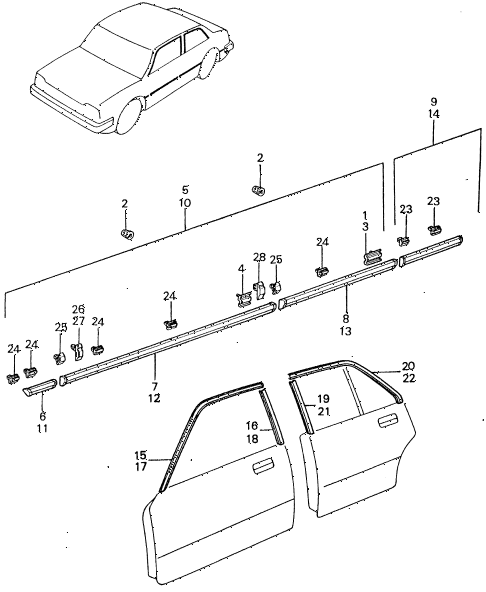 1981 civic **(1500) 4 DOOR 5MT SIDE PROTECTOR - DOOR SASH MOLDING diagram