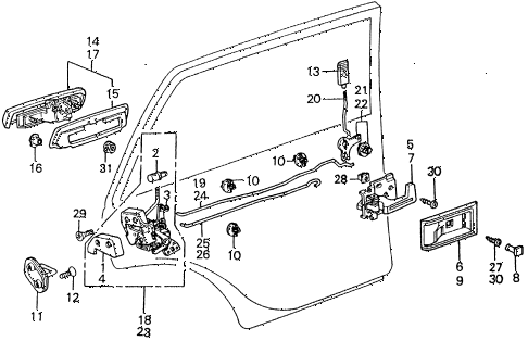 1983 civic **(1500) 4 DOOR HMT REAR DOOR LOCKS diagram