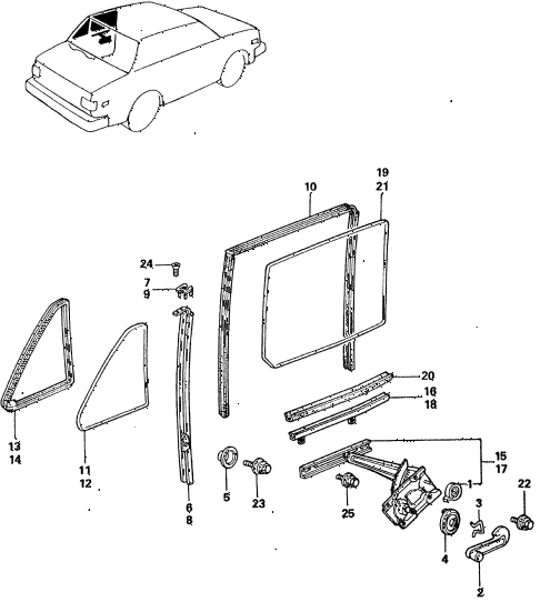 1983 civic **(1500) 4 DOOR HMT REAR DOOR WINDOWS diagram