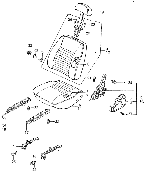 1982 civic **(1500) 4 DOOR HMT FRONT SEAT COMPONENTS diagram