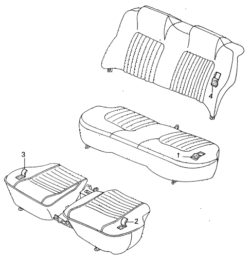 1983 civic **(1500) 4 DOOR 5MT REAR SEAT COMPONENTS diagram