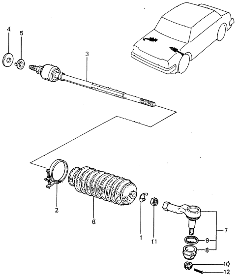 1982 civic **(1500) 4 DOOR 5MT TIE ROD diagram