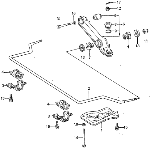 1983 civic **(1500) 4 DOOR 5MT FRONT LOWER ARM  - STABILIZER diagram
