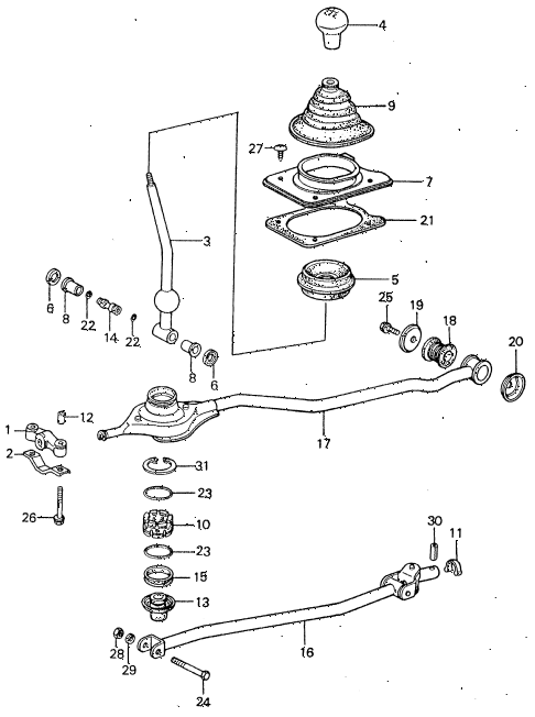 1983 civic **(1500) 4 DOOR 5MT SHIFT LEVER diagram
