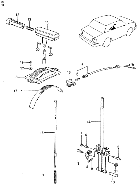 1982 civic **(1500) 4 DOOR HMT SELECT LEVER diagram