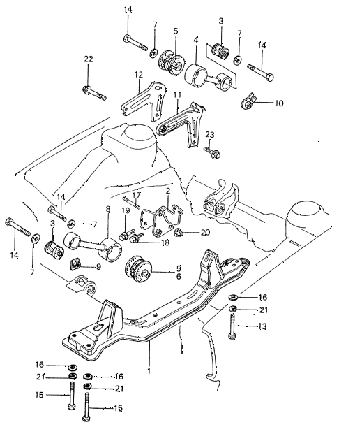 1983 civic **(1500) 4 DOOR 5MT TORQUE ROD - FRONT BEAM diagram