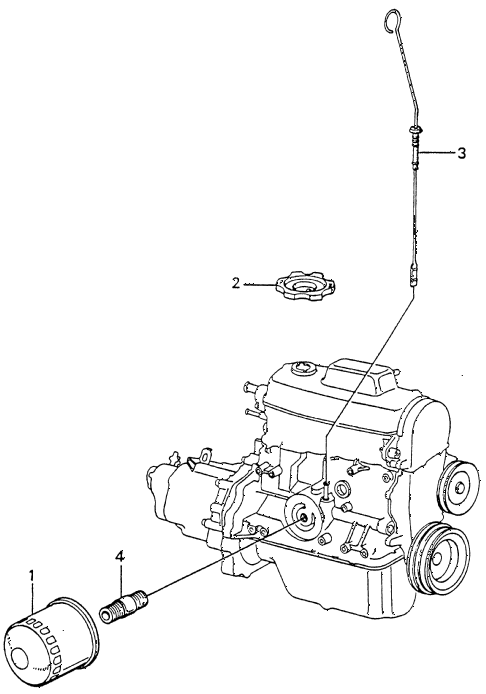 1983 civic **(1500) 4 DOOR 5MT OIL FILTER - DIPSTICK diagram