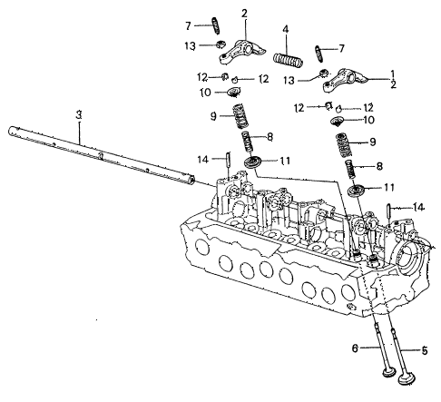1983 civic **(1500) 4 DOOR HMT VALVE - ROCKER ARM diagram
