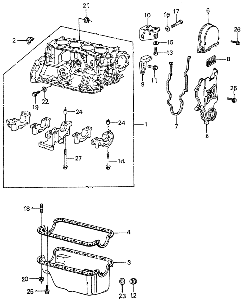 1981 civic **(1500) 4 DOOR 5MT CYLINDER BLOCK - OIL PAN diagram