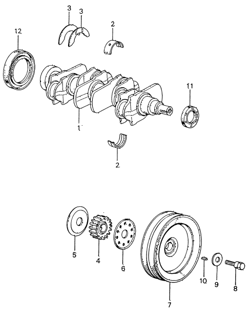 1981 civic **(1500) 4 DOOR 5MT CRANKSHAFT diagram