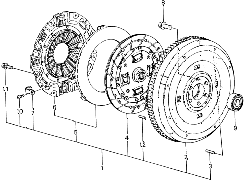 1982 civic **(1500) 4 DOOR 5MT MT CLUTCH - FLYWHEEL diagram