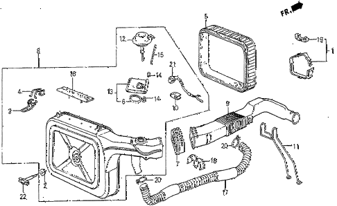 1985 prelude DX 2 DOOR 5MT AIR CLEANER (DX) diagram