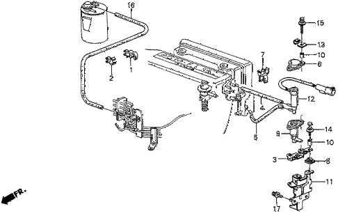 1987 prelude SI 2 DOOR 5MT AIR CLEANER TUBING (SI) diagram
