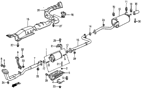 1987 prelude DX 2 DOOR 5MT EXHAUST SYSTEM (1) diagram