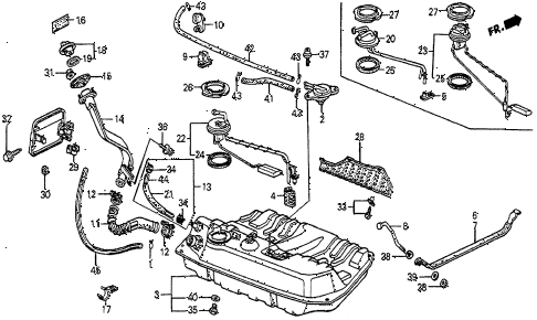 1987 prelude SI 2 DOOR 5MT FUEL TANK diagram