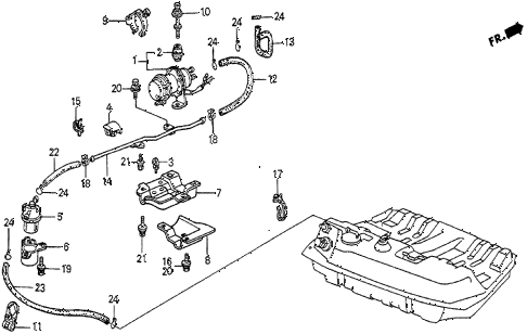 1985 prelude DX 2 DOOR 5MT FUEL PUMP - FUEL STRAINER (DX) diagram