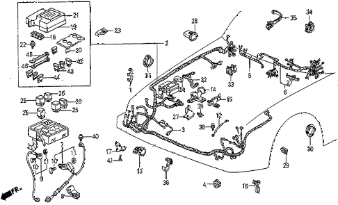 1987 prelude DX 2 DOOR 5MT ENGINE WIRE HARNESS diagram
