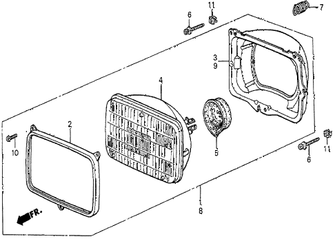 1985 prelude DX 2 DOOR 5MT HEADLIGHT diagram