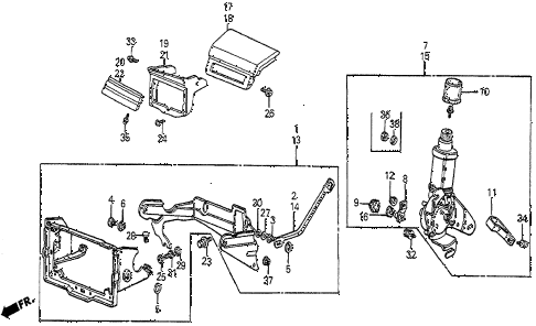 1983 prelude DX 2 DOOR 5MT HEADLIGHT RETRACT UNIT diagram