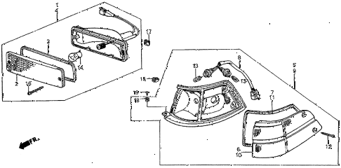 1986 prelude SI 2 DOOR 5MT FRONT COMBINATION LIGHT diagram