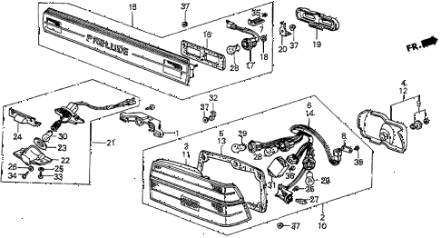 1986 prelude DX 2 DOOR 5MT TAILLIGHT (DX) diagram