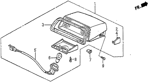 1987 prelude SI 2 DOOR 5MT HIGH MOUNT STOP LIGHT diagram