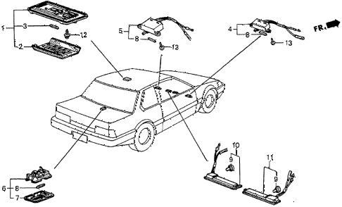 1983 prelude DX 2 DOOR 5MT INTERIOR LIGHT diagram