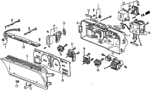 1983 prelude DX 2 DOOR 5MT METER COMPONENTS (DX) diagram
