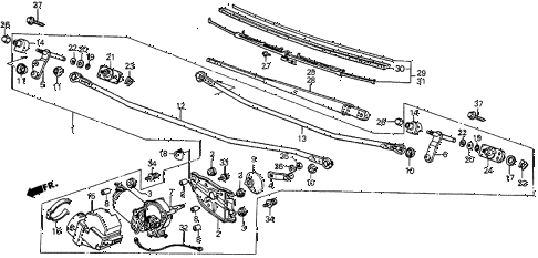 1987 prelude DX 2 DOOR 5MT FRONT WINDSHIELD WIPER diagram