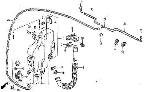 1985 prelude DX 2 DOOR 5MT WINDSHIELD WASHER (DX) diagram