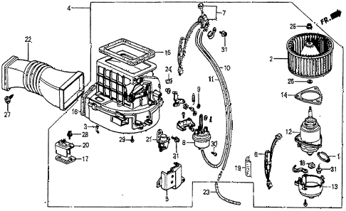 1987 prelude DX 2 DOOR 5MT HEATER BLOWER diagram