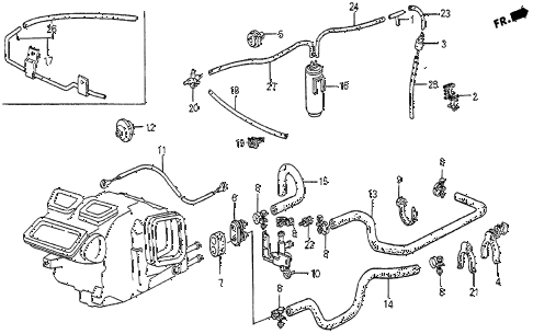 1985 prelude SI 2 DOOR 5MT WATER VALVE - HOSE diagram