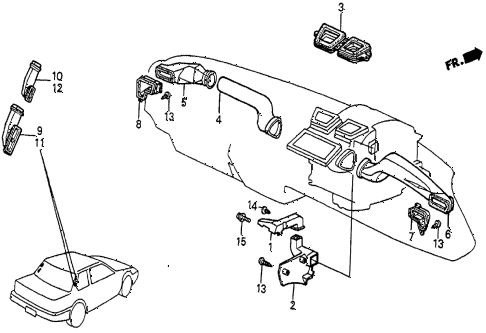 1986 prelude SI 2 DOOR 5MT HEATER DUCT diagram