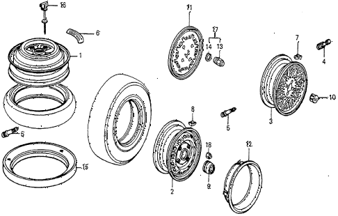 1983 prelude DX 2 DOOR 5MT WHEELS diagram