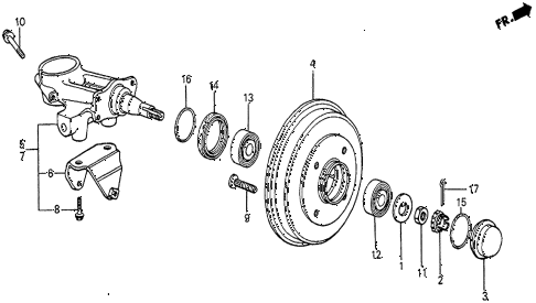 1983 prelude DX 2 DOOR 5MT REAR BRAKE DRUM diagram