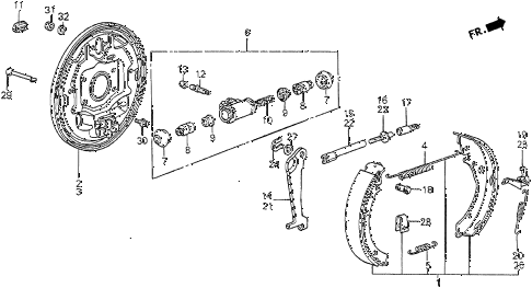 1983 prelude DX 2 DOOR 5MT REAR BRAKE SHOE diagram