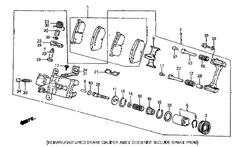 1986 prelude DX 2 DOOR 5MT REAR BRAKE CALIPER (DX) diagram