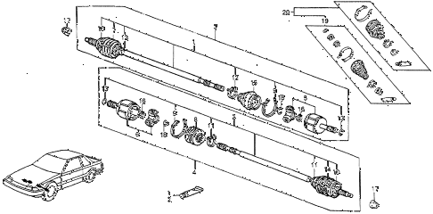 1983 prelude DX 2 DOOR 5MT DRIVESHAFT diagram