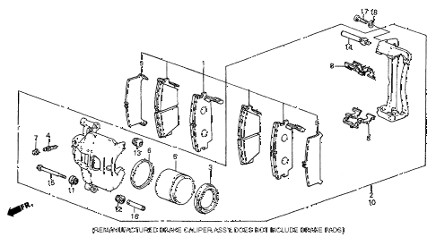 1987 prelude SI 2 DOOR 5MT FRONT BRAKE CALIPER (SI) diagram