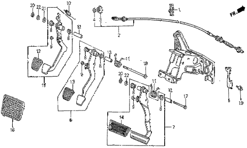 1984 prelude DX 2 DOOR 5MT BRAKE PEDAL - CLUTCH PEDAL diagram